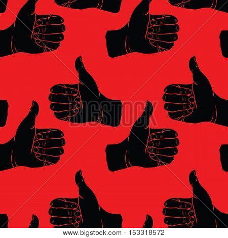 Seamless pattern hand showing symbol like. Making thumb up gesture. Drawn design element. Vector red and black illustration. Illustration for web, poster, print