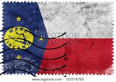 Flag Of Wake Island, Usa, Old Postage Stamp