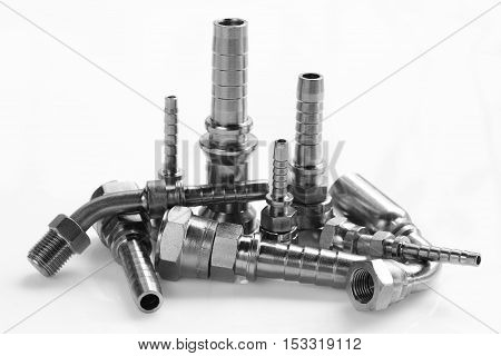 The hydraulic fitting for connection oil in industry.