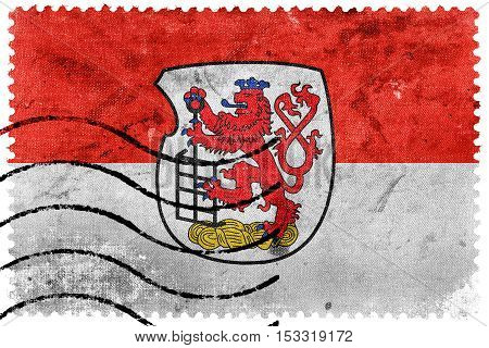 Flag Of Wuppertal, Germany, Old Postage Stamp