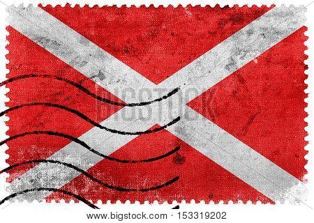 Flag Of Zabbar, Malta, Old Postage Stamp