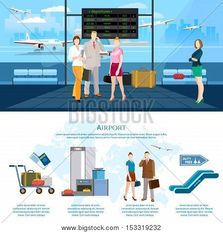 Airport infographics international airlines people in waiting room airport terminal baggage inspection scanner vector illustration