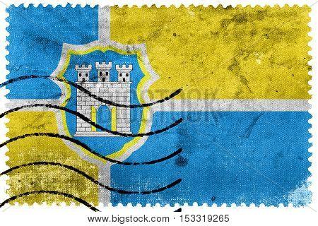 Flag Of Zhytomyr, Ukraine, Old Postage Stamp