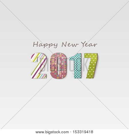 New Year 2017 card, digitally created by computer software