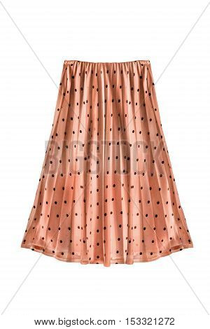 Beige pleated chiffon skirt on white background