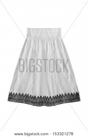 White flared skirt with black lace isolated over white