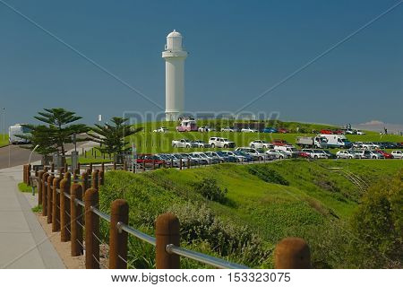 Lighthouse in Wollongong, Australia, bright summer weather