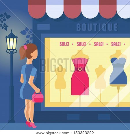 Vector illustration of boutique. Girl looks at the shop window. Store building with a showcase. Clothing shop. Night city, street light. Trend modern flat pseudo volume style.