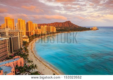 Honolulu, Hawaii. Skyline of Honolulu, Diamond Head volcano and Waikiki Beach