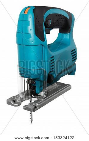 blue electric fretsaw on a white background isolated