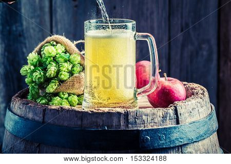 Cider Beer With Apples, Wheat And Hops