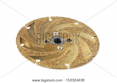 gold studded diamond blade on white background isolated