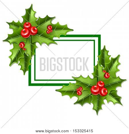 frame christmas mistletoe isolated on white background 10eps