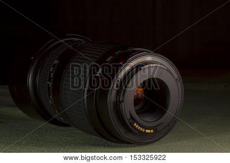 Telephoto lens aperture mount. DSLR lens back.