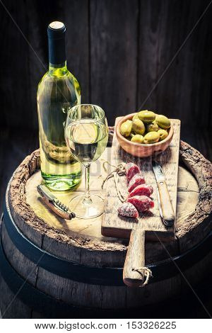 White Wine With Olives And Cold Cuts