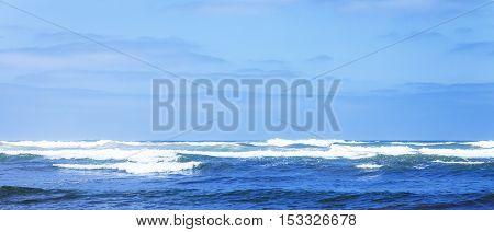 Waves on Atlantic ocean in sunny day. Casablanca. Morocco. Africa