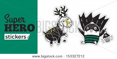 Kids badges with penguin and deer in superheroes costume. Vector illustration isolated on white background. Set of stickers in cartoon comic style.