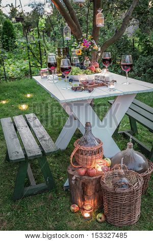 Beautiful Table Full Of Wine And Fruits In Garden At Dusk