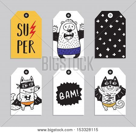Vector party badge design. Collection of six Super Hero cute ready to use gift tags. Set of 6 printable hand drawn party label with cat, fox and bear