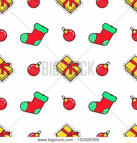 Merry Christmas and Happy New Year Seamless Pattern with Christmas Gifts and Socks. Winter Holidays Wrapping Paper. Vector background