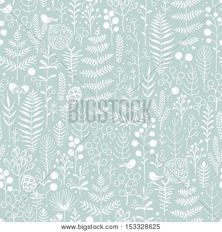 Seamless floral background. Christmas vector illustration of floral and bird.