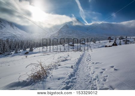 Winter Cottages In The High Mountains At Sunrise, Tatras, Poland