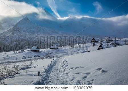 Winter Mountain Trail To A Shelter At Sunrise, Tatras, Poland