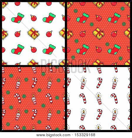 Merry Christmas and Happy New Year Seamless Pattern Set with Christmas Gifts Candies and Socks. Winter Holidays Wrapping Paper. Vector background