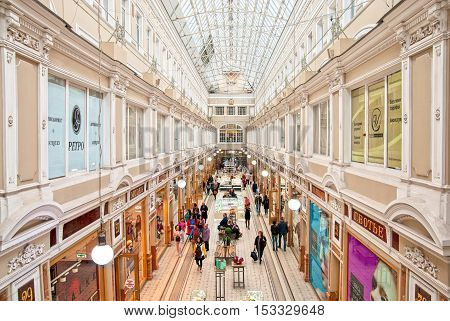 Saint - Petersburg, Russia - September 17, 2016: People in The Passage Department Store on The Nevsky Avenue. It is one of the oldest and the largest elite shops in St. Petersburg. Was built in 1846-1848.