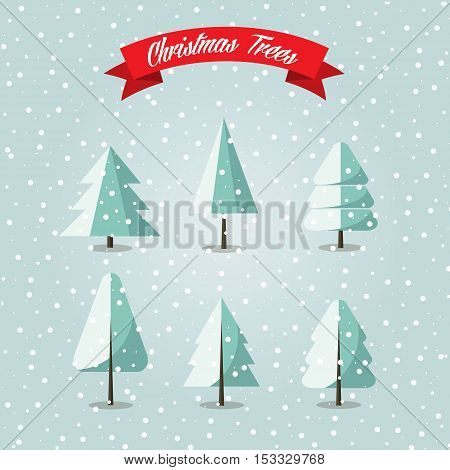 Set of Christmas tress with snow, vector illustration