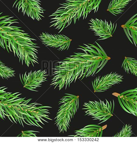 Christmas Tree Fir Branches Seamless Pattern. Vector Background