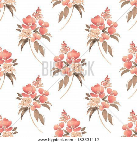 Watercolor illustration with leaves and flowers. Seamless pattern 21