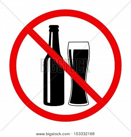 Non alcohol symbol with beer bottle and glass