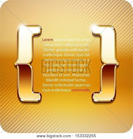 3d Joyful the curly braces of gold metal. Vector. Eps 10.