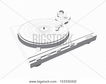 Turntable illustration, for home or professional DJ use, isolated on white background