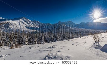 Tatra Mountains at sunrise in winter Poland