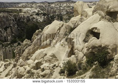 Sanstone valley in Turkey with volcanic formations and caves