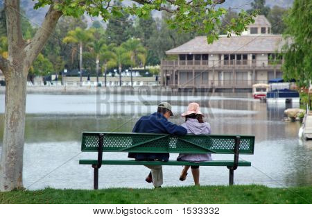 Couple By The Lake  Contemplating
