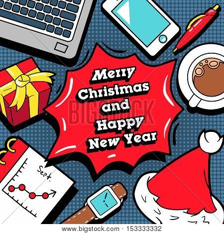 Merry Christmas and Happy New Year Business Design Greeting Card with Office Elements. Vector Background