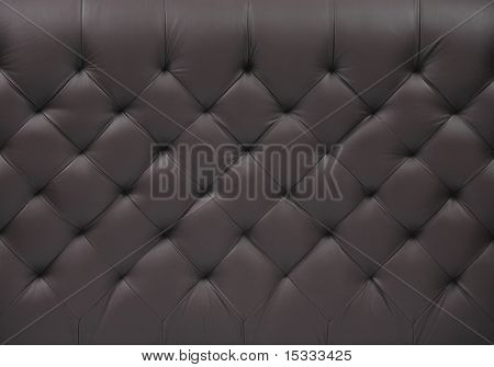 A furniture detail covered with black leather