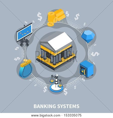 Banking systems financial isometric icons round composition with wallet coins safe box bank computer scales flat vector illustration