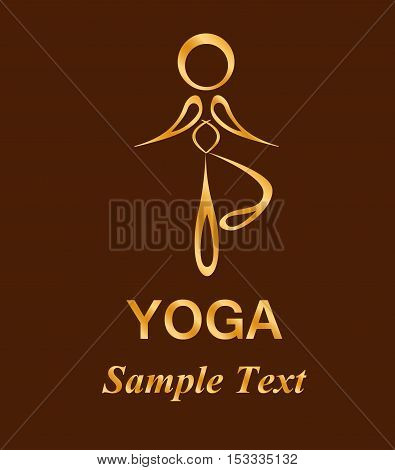 Illustration - logo - with a silhouette of a man who practice yoga.