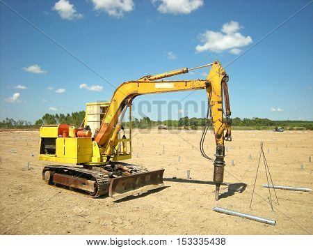 Screw Pile Driving Machine Photovoltaic Solar Farm