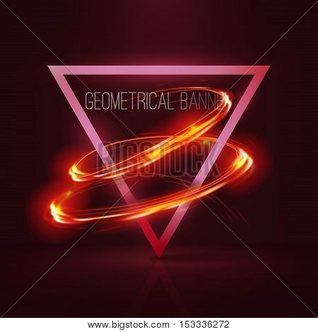Geometrical banners with red neon lights . 3d triangle vector banner with fire blurry circles at motion. Light painting on banner .