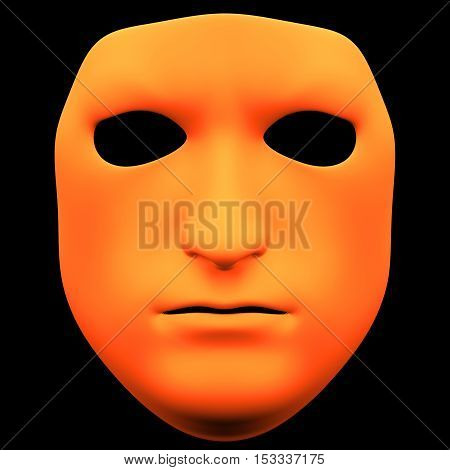 The mask isolated on black background. Rough mask front view isolated on black background. 3D illustration. 3D render rough mask isolated on black background