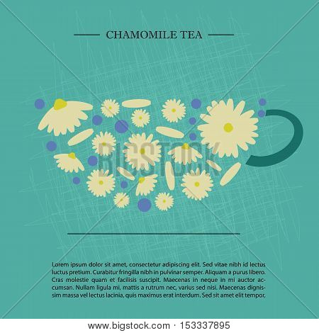 cup shape design. chamomile tea. retro scratched background