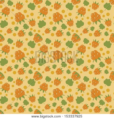 forest cloud berry on a yellow background. seamless pattern