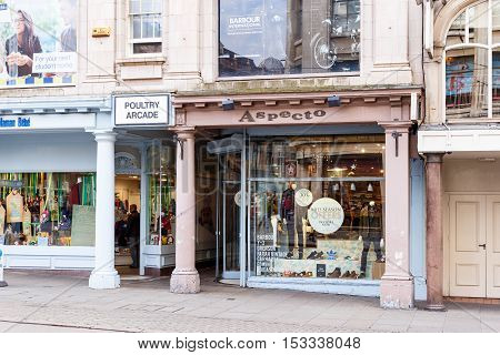 NOTTINGHAM ENGLAND - OCTOBER 22: Frontage of Aspecto - independent mens' clothing shop. On The Poultry Nottingham England. On 22nd October 2016.