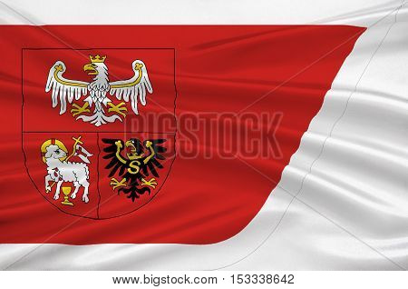 Flag of Warmian-Masurian Voivodeship or Warmia-Masuria Province in northeastern Poland. 3d illustration