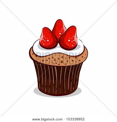 Hand drawn cupcake with strawberry and cream isolated on white background. Vector illustration. Can be used for design of bakery or for cafe.